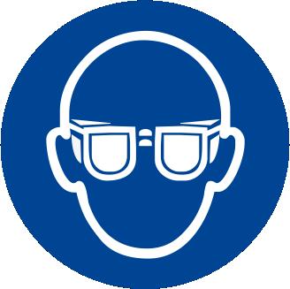 Obbligatorio indossare la protezione degli occhi