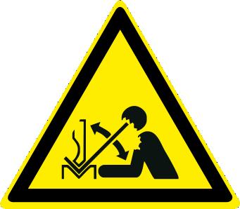 Pericolo rapido movimento del pezzo in pressa piegatrice