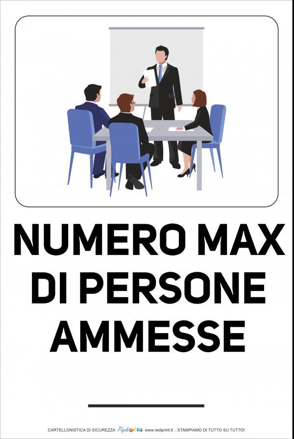 Cartello Numero Massimo Persone ammesse in Sala riunioni