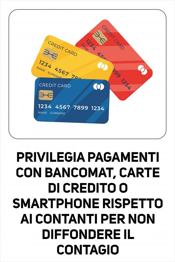 Cartello Utilizzo Carte e Non Contanti