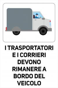 Cartello Trasportatori e corrieri a Bordo