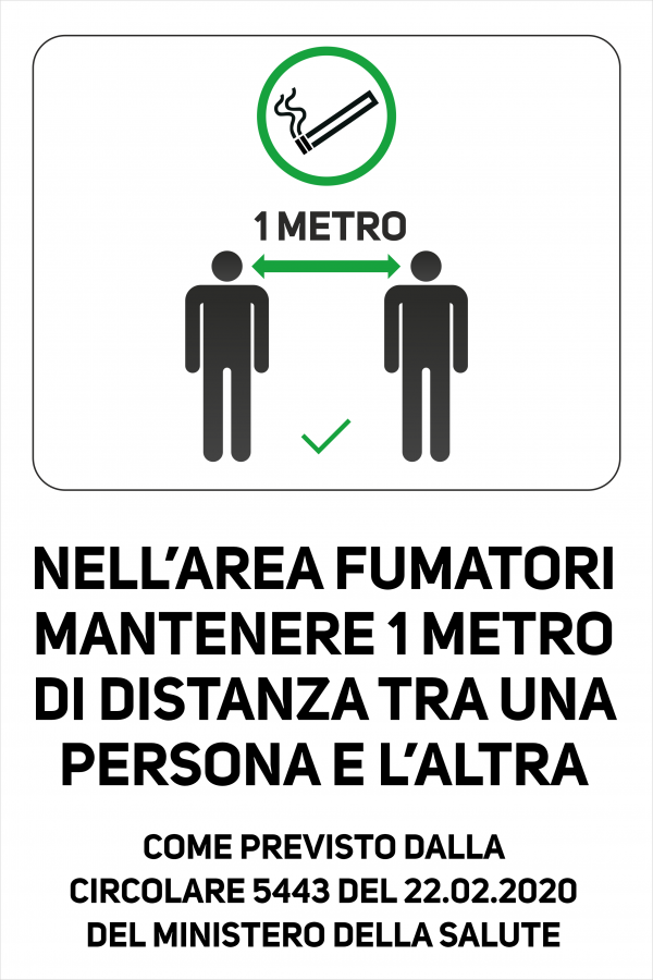 Cartello Distanza di Sicurezza in Area Fumatori