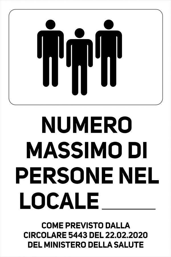 Cartello Numero Massimo di Persone nel Locale