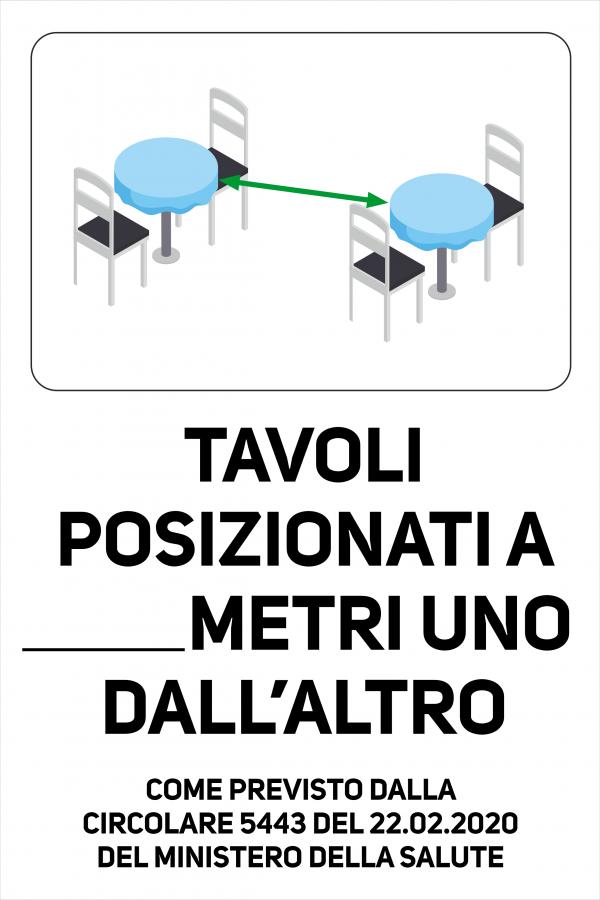 Cartello Tavoli posizionati a Tot Metri Uno dall'altro