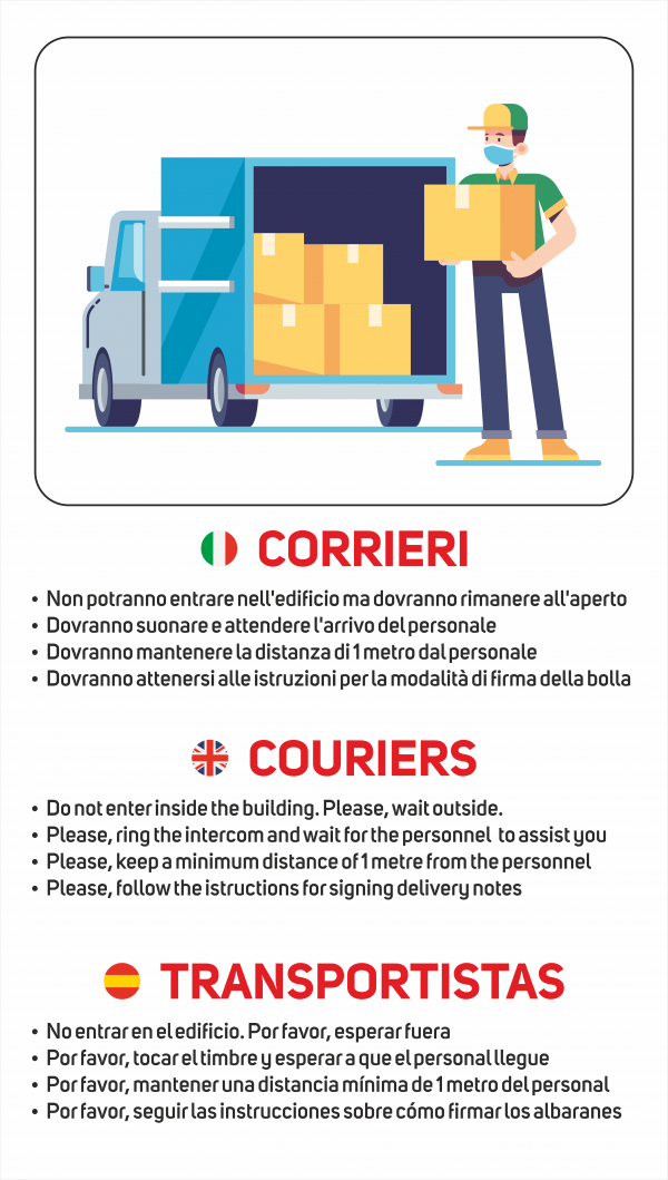 Cartello regole comportamento corrieri
